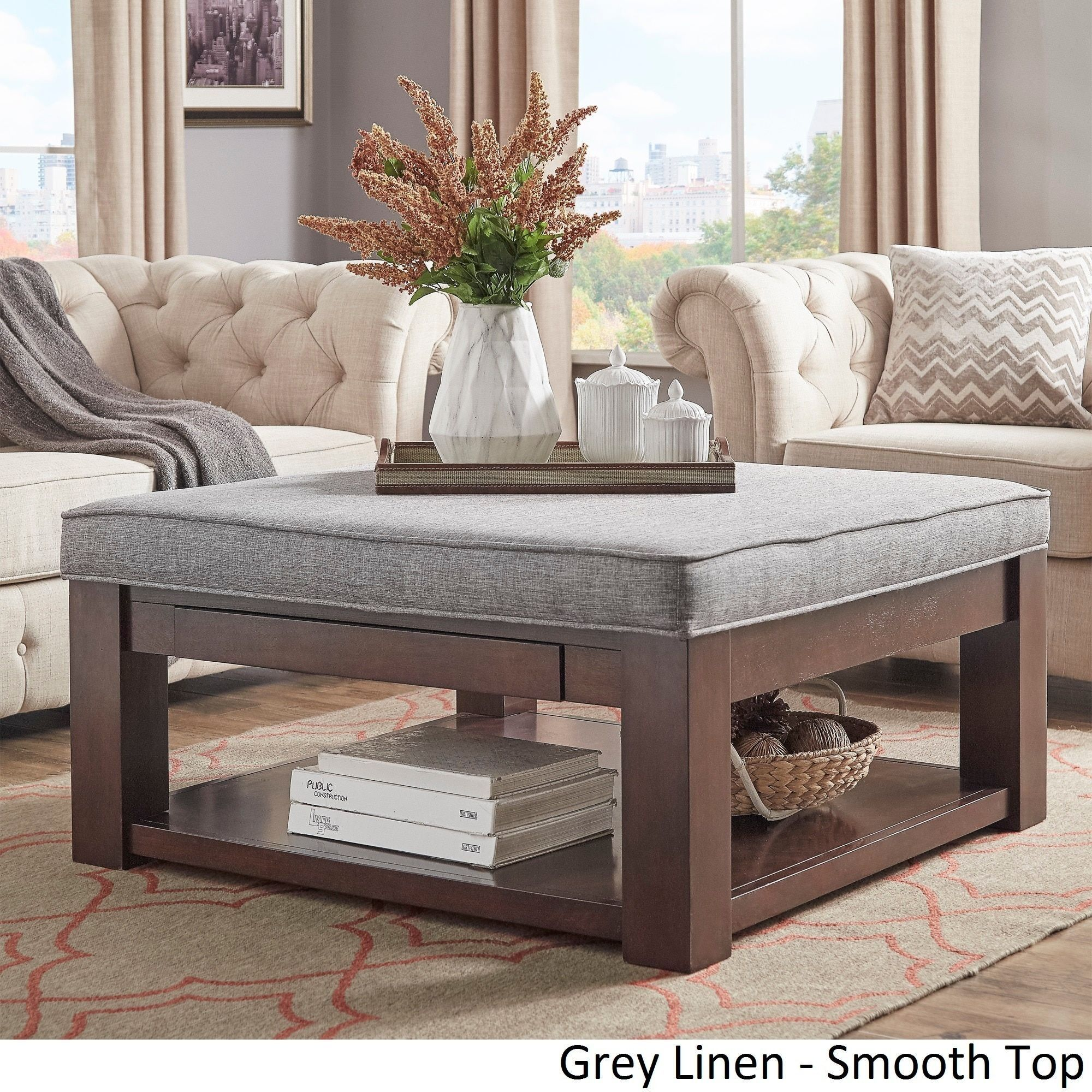 Lennon Espresso Square Storage Ottoman Coffee Table By INSPIRE Q Classic  ([Beige Linen]  Smooth Top), Size 38 X 38 X 19