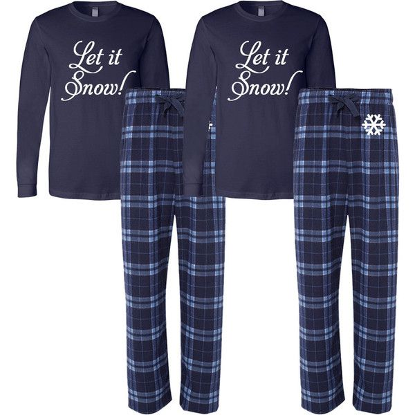 His And Hers Matching Christmas Pajamas: Set Of 2 Let It Snow Flannel Pj Set Adult Christmas