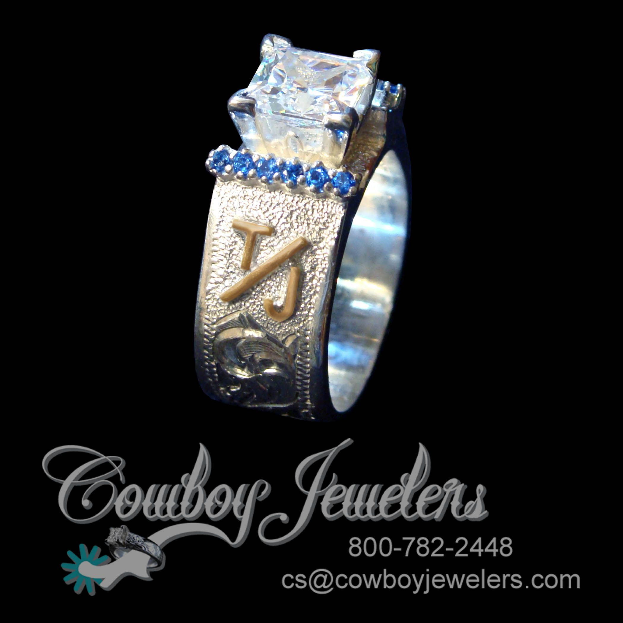 New Stunning Twist On Our 5130 Western Wedding Band Here It Is Shown With Sapphire Side Accent Stones And Customer's Custom Brand Hand Cut From 14k Yellow: Custom Cowboy Wedding Rings At Reisefeber.org