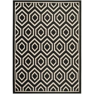 Safavieh Indoor/ Outdoor Courtyard Geometric Black/ Beige Rug (6'7 x 9'6) - Free Shipping Today - Overstock.com - 15596556 - Mobile