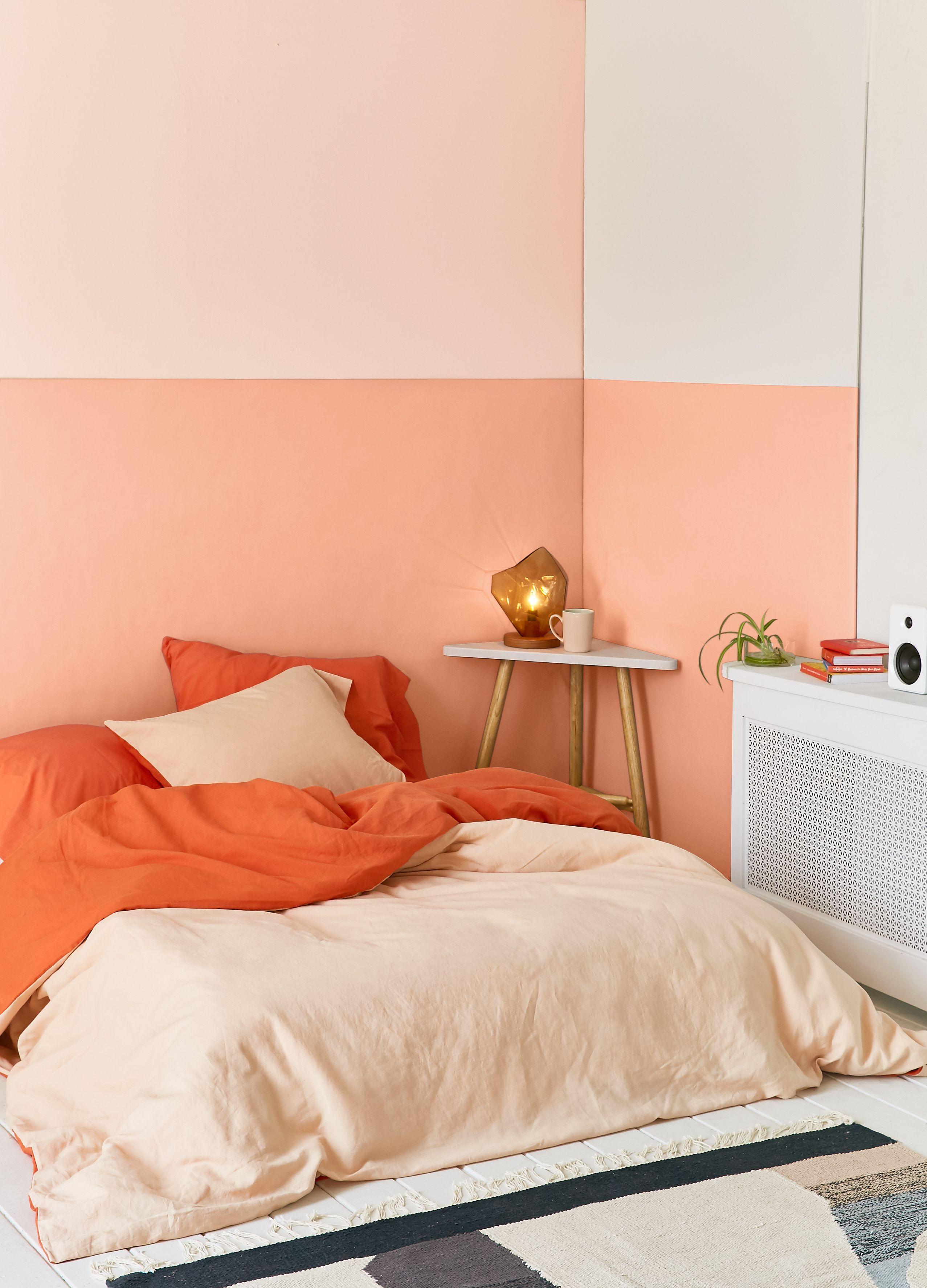 Color Blocked Walls Preferably Just Two Colors Orange Bedroom Walls Bedroom Orange Home Decor