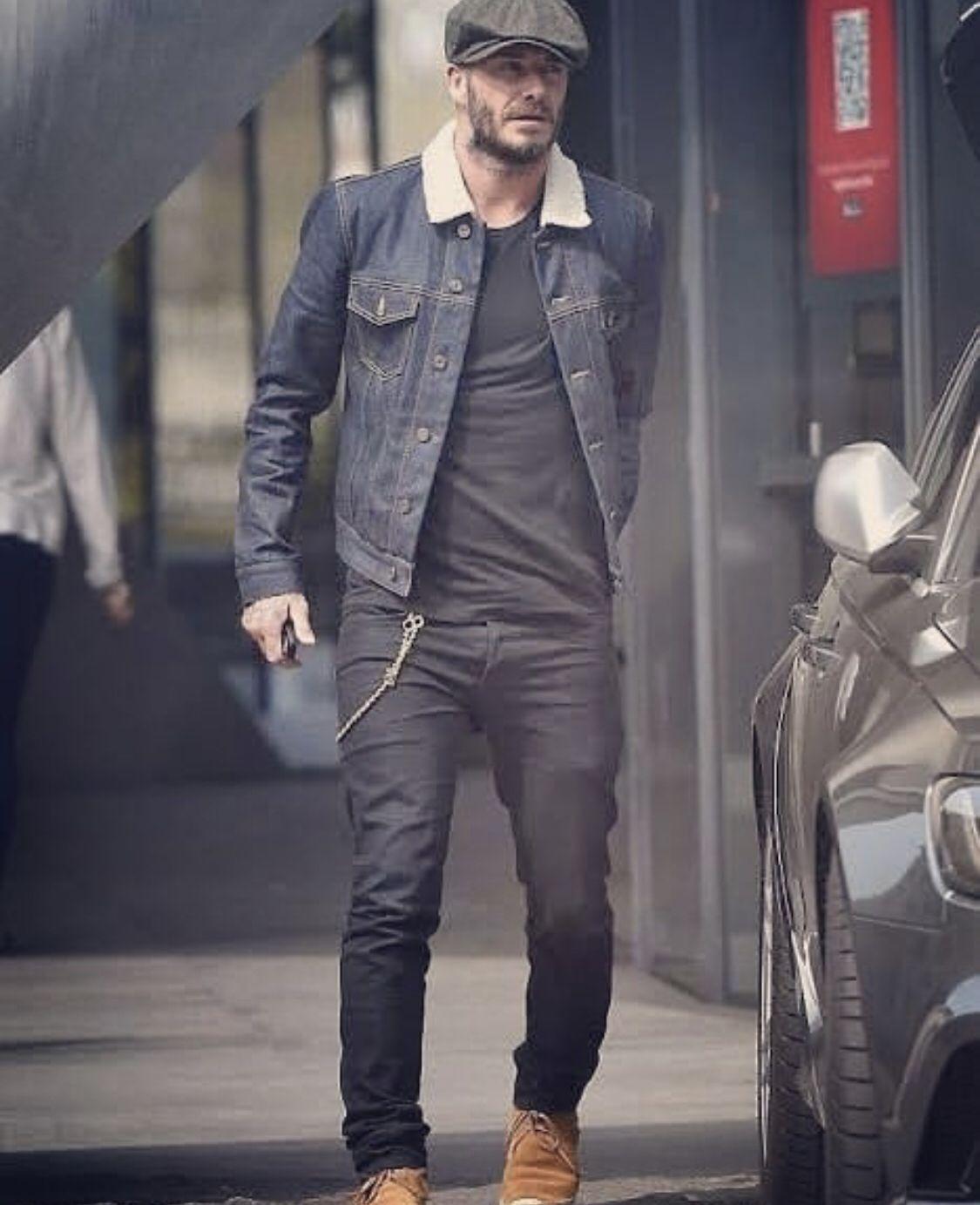 Men David Beckham Style Leather Sleeves Black Denim Jeans Casual wear Jacket