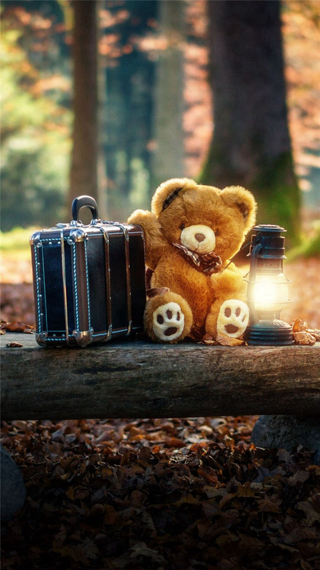 Forest Cute Bear Suitcase Lovely iPhone 7 wallpaper