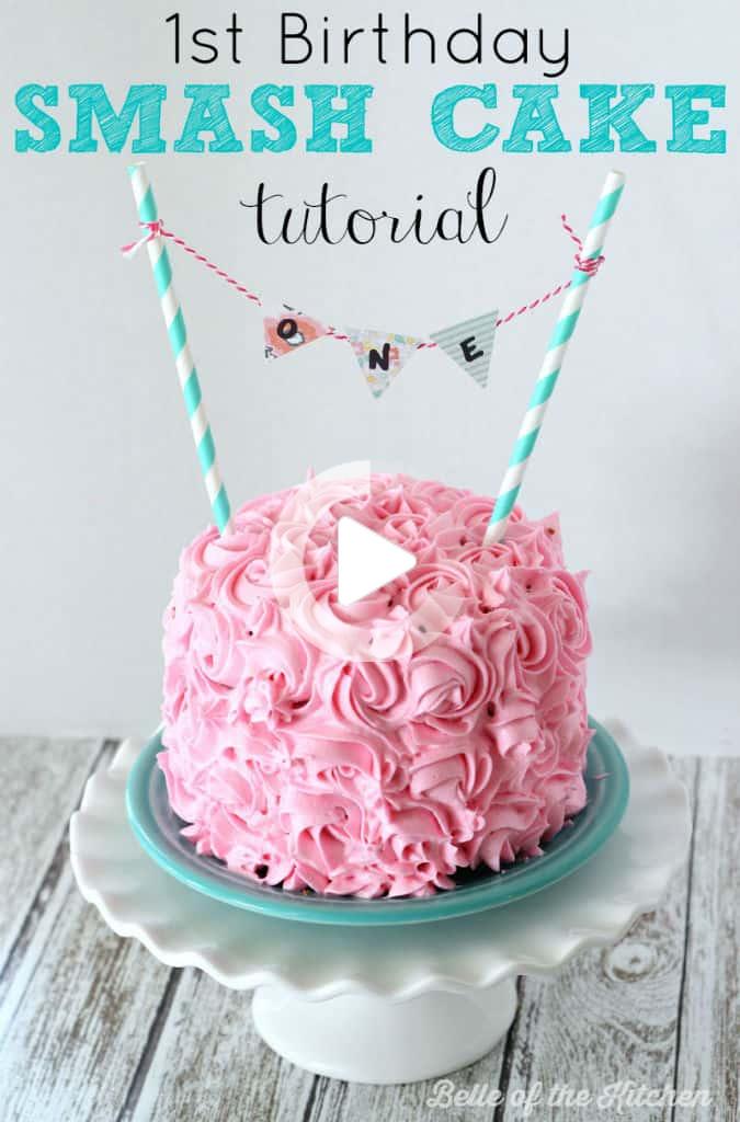 1 Geburtstag Smash Kuchen Tutorial Einfacher Vanille Kuchen In 2020 Smash Cake Girl First Birthday Cakes Cake