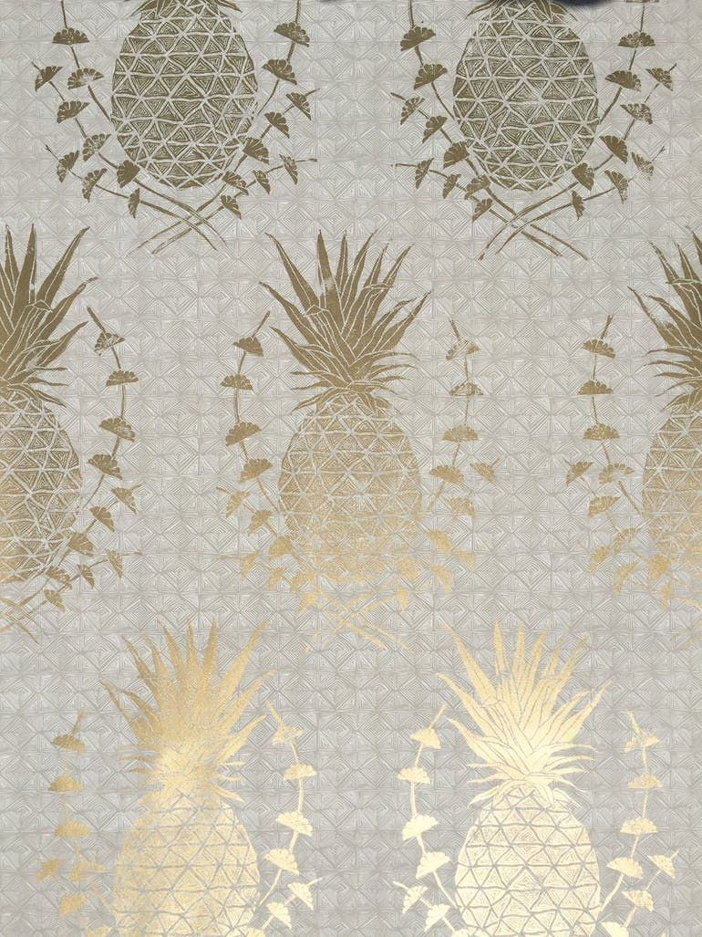 Royal Pineapple Gold Wallpaper Krane Home