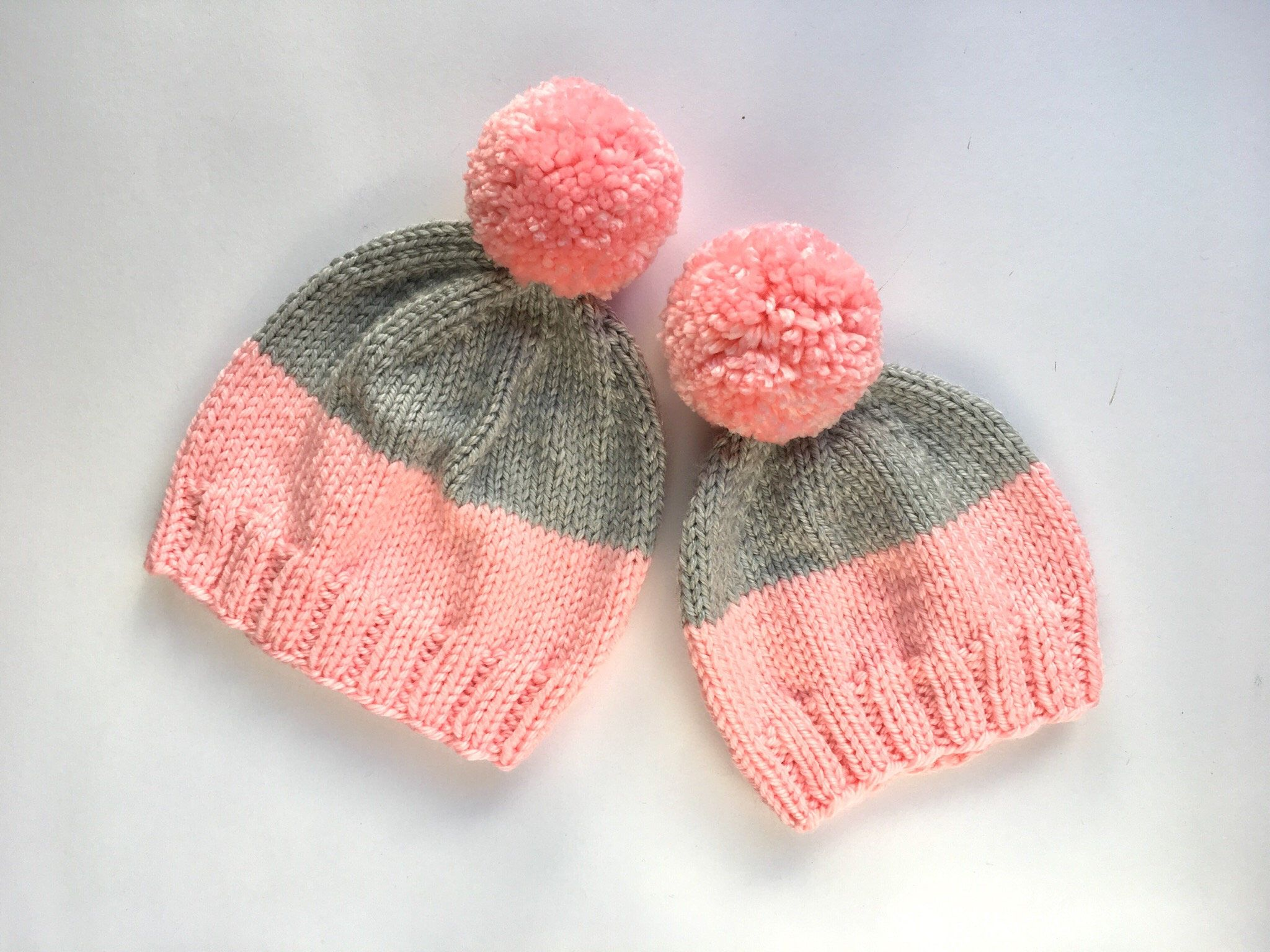 2f637d03aa79b Mother and daughter matching hat set - knitted beanie - mommy and me pink  hats - free shipping