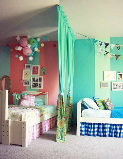 Perfect Best Boy + Girl Shared Room Ideas   Love The Idea Of A Curtain As A Room  Divider
