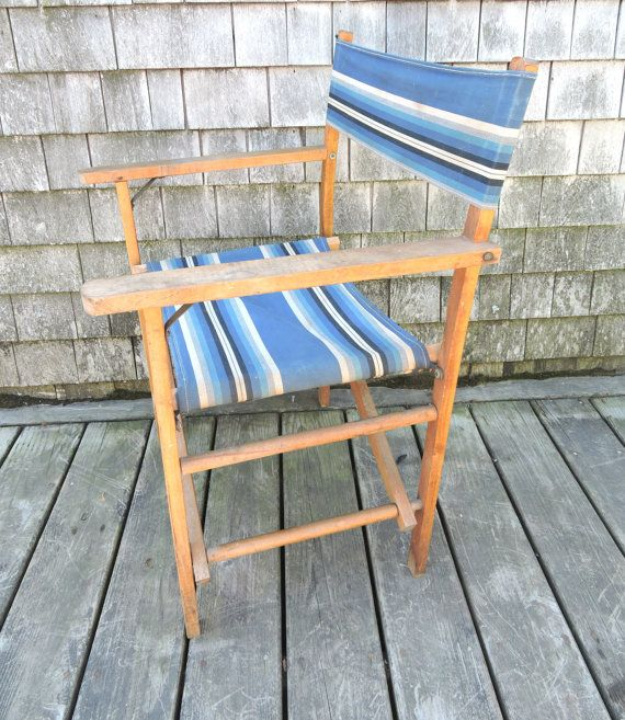 Lawn Chair Beach Chair Outdoor Chair Vintage Classic 1940s Lounge Chair Blue Striped Fabric : fabric lawn chairs - Cheerinfomania.Com