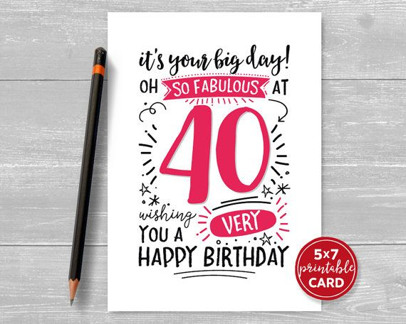 Printable 40th Birthday Card It S Your Big By Thelittleredcherry 90th Birthday Cards 80th Birthday Cards 40th Birthday Cards