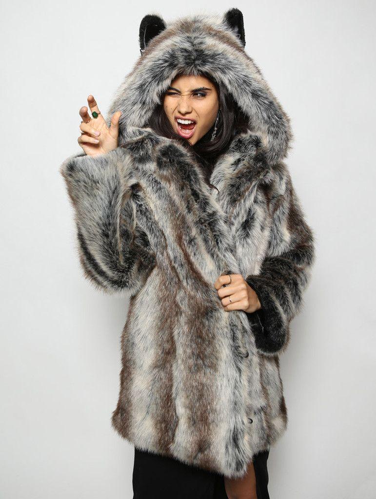 Classic Grey Wolf Faux Fur Coat Faux fur collar coat