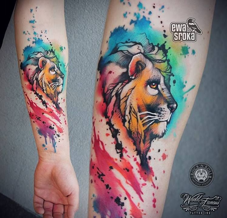 Colored Lion Tattoos Watercolor Lion Tattoo Tattoos Watercolor Tattoo