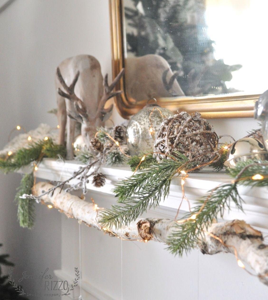 Modern rustic mantel with easy DIY glitter ornaments