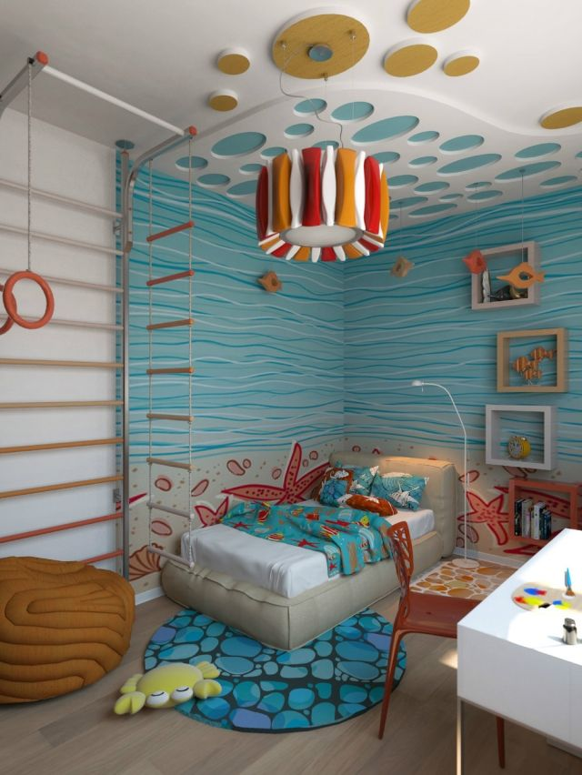 wandfarbe kinderzimmer malerei unterwasserwelt blau | kids home ...