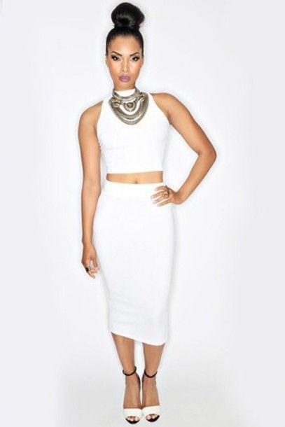 Dress White 2 Piece Dress Skirt Crop Top Pencil Skirt