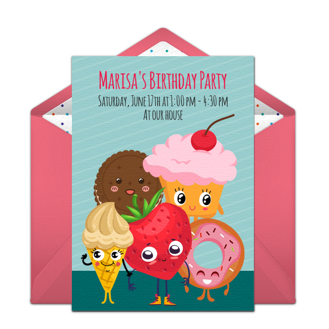 Customizable Free Sweet Friends Online Invitations Easy To Personalize And Send For A Party Punchbowl