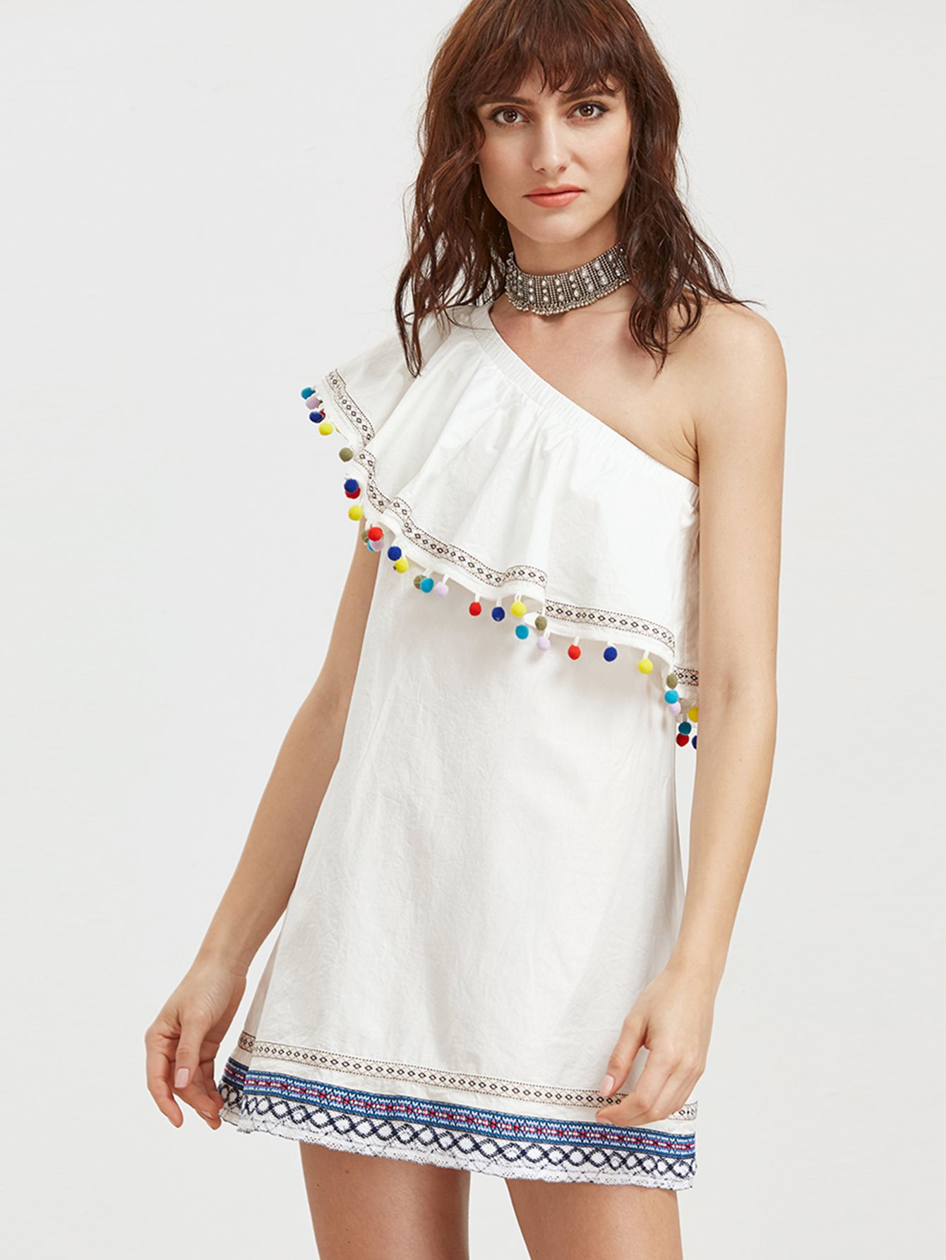 d56f9ca774 Shop White Embroidered Tape And Pom Pom Detail One Shoulder Dress online.  SheIn offers White Embroidered Tape And Pom Pom Detail One Shoulder Dress    more ...