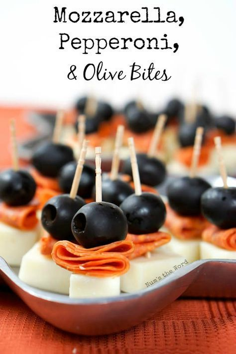 Mozzarella, Pepperoni & Olive Bites - NumsTheWord Party guests will go nuts for this mozzarealla pe