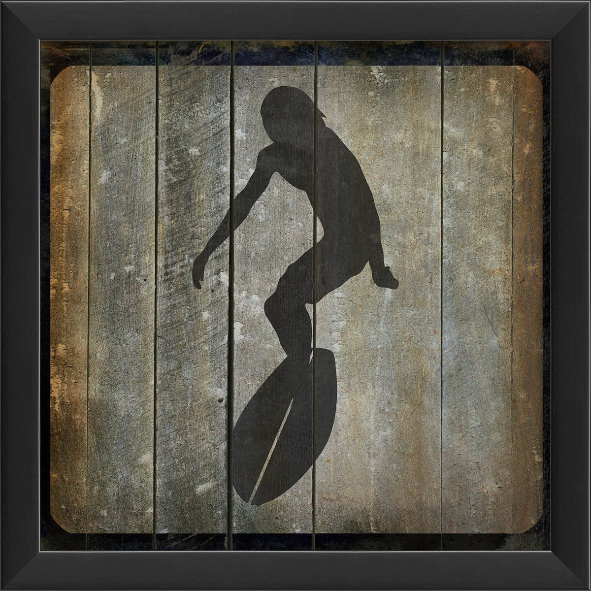 Surfer iii framed graphic art in black and gray products