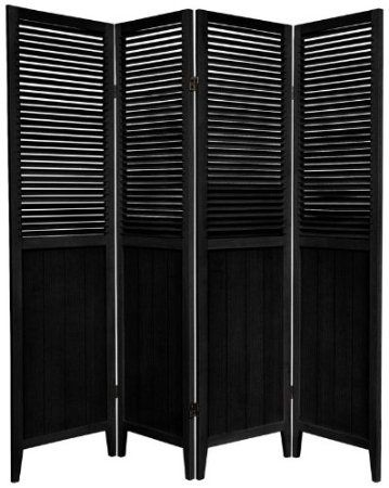 Amazon.com - Oriental Furniture 6-Feet Tall Beadboard Room Divider, 3 Panel, Black - Panel Screens