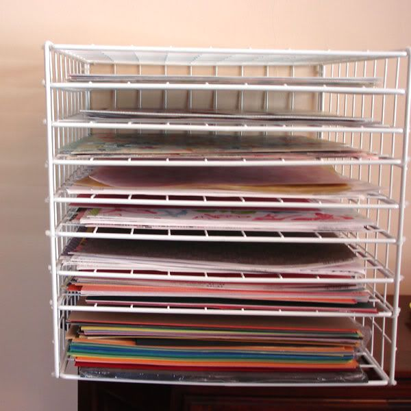 Paper Storage Using Wire Grid Cubes And Add Extra Shelves Inside Cube With Zip Ties