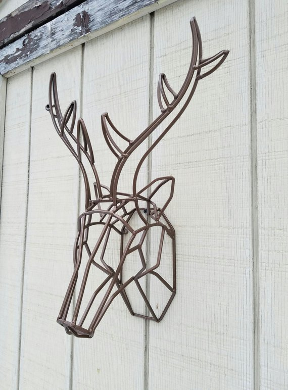 Geometric Wall Decor Geometric Deer Head Metal Deer Art Deer Antler Large Deer Head Geometric Deer Head Geometric Deer Geometric Wall Decor