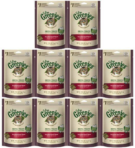 Greenies Feline Beef 2.5oz Greenies, Dental treats, Cat