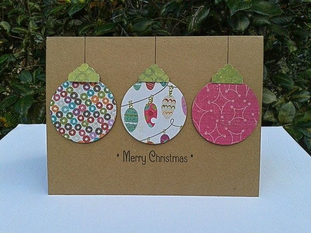 ON SALE Ornament Card - Paper Handmade Christmas Cards - Handmade - blank xmas cards