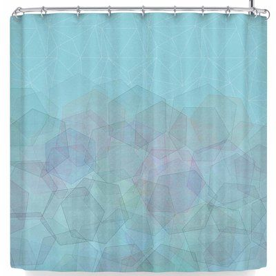 East Urban Home Pia Schneider Hazelnut Hexagonal Shower Curtain Color Sky Blue Colorful Curtains Striped Shower Curtains Curtains