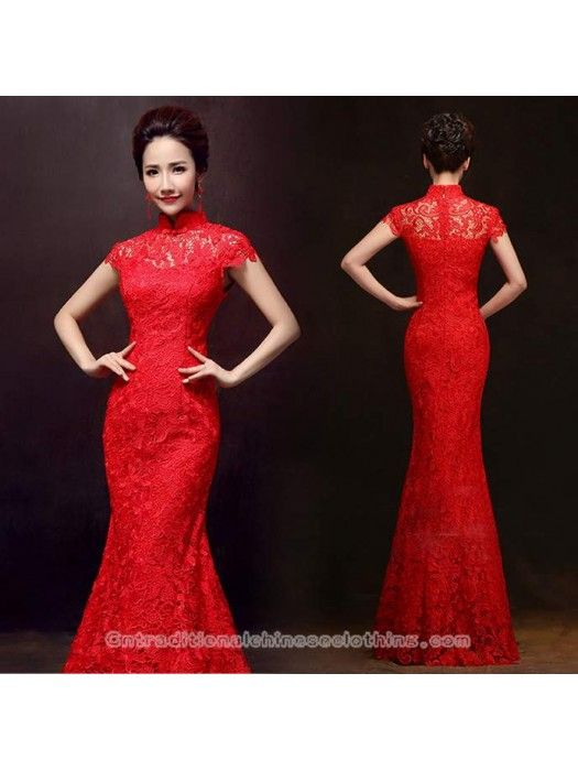 40de15686 Cap sleeve red lace mermaid cheongsam Chinese bridal dress | Qipao | Chinese  wedding dress traditional, Dresses, Red chinese dress