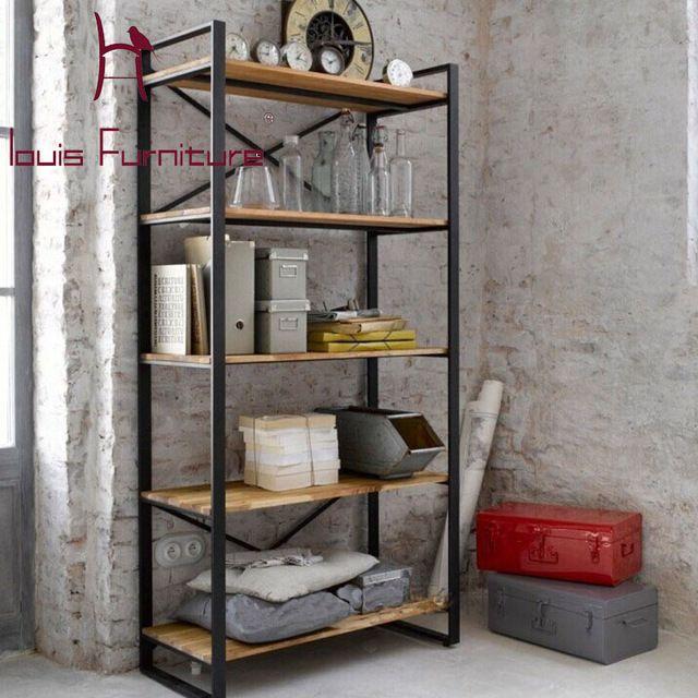 Retro americana hierro estante placa de madera de estante estante ...