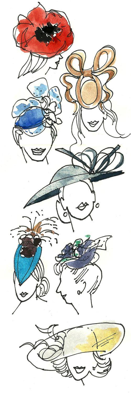 royal wedding hats illustrated | Bocetos y dibujos | Bocetos ...
