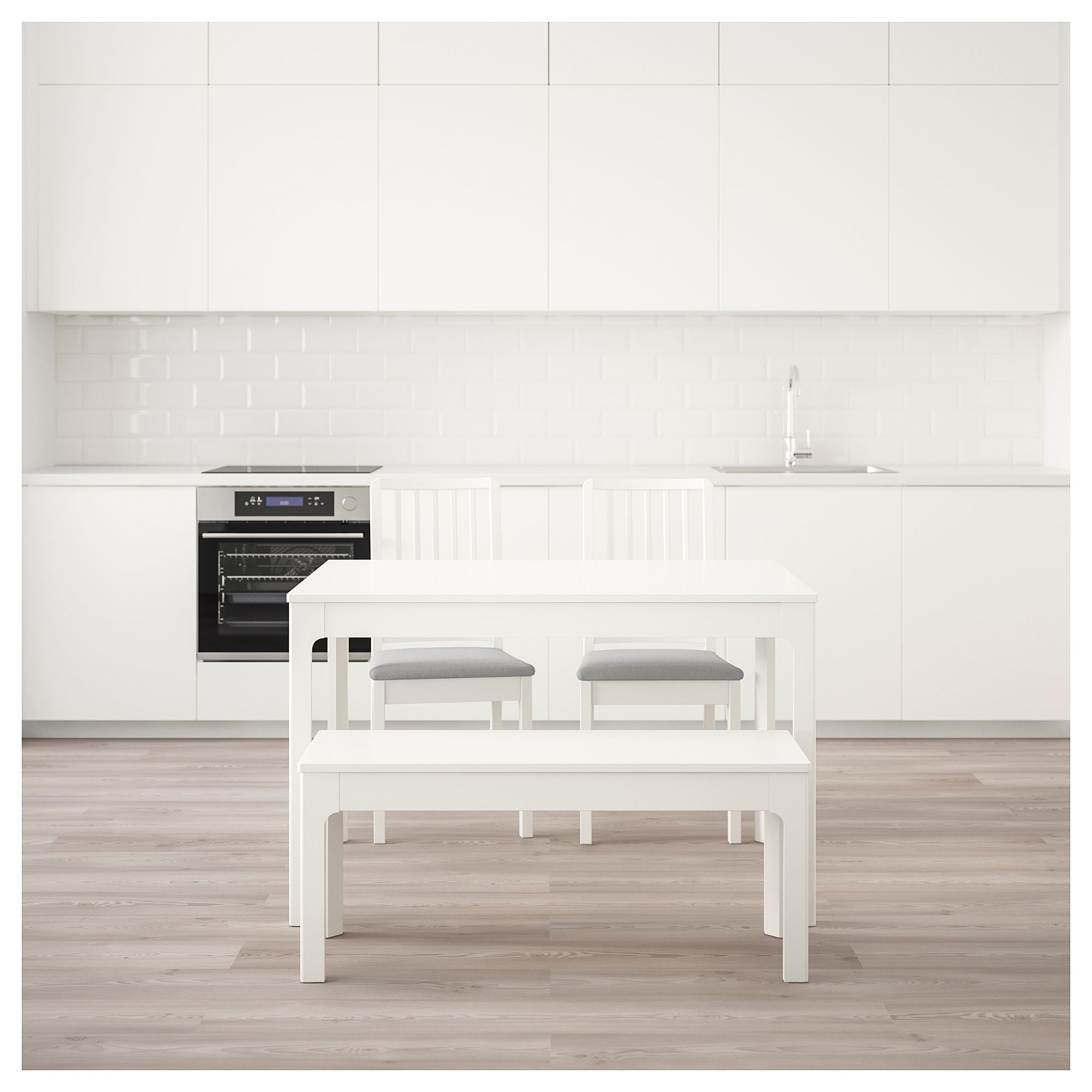 4823d1fecae IKEA - EKEDALEN   Table with 2 chairs and bench white