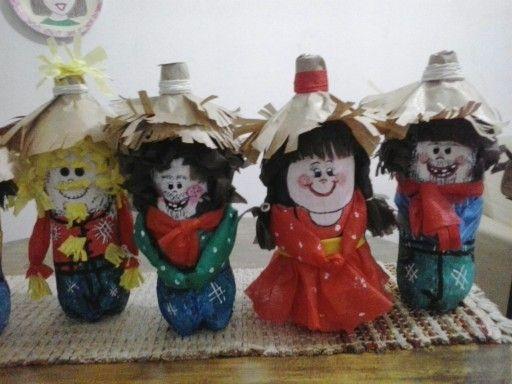 Bonecos de garrafas pet para decoração junina                                                                                                                                                      Mais