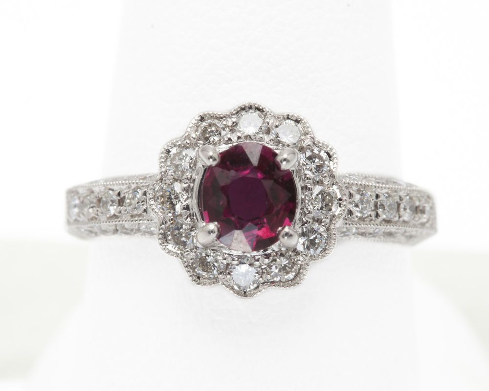 14K White Gold .73 carat Oval Ruby & .77 cttw Diamond Ring   200-1721 Estate #SolitairewithAccents