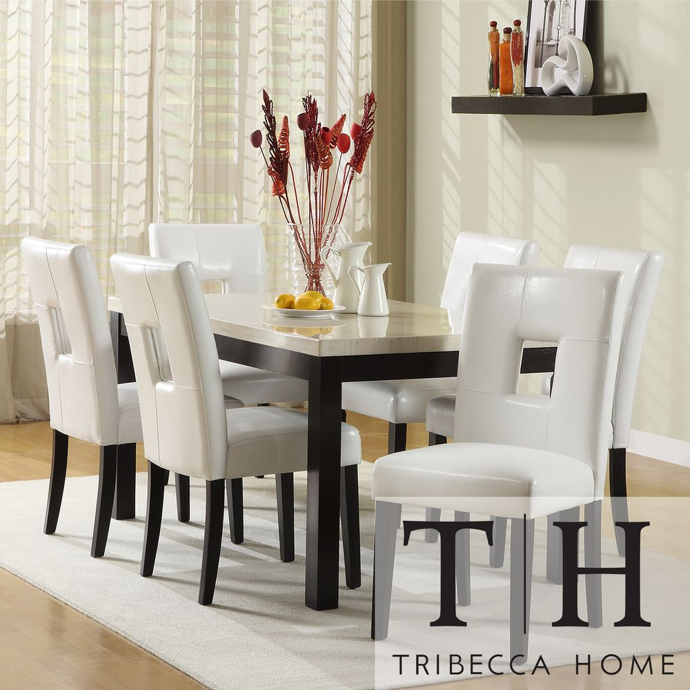 TRIBECCA HOME Mendoza White 7 Piece Modern Casual Dining