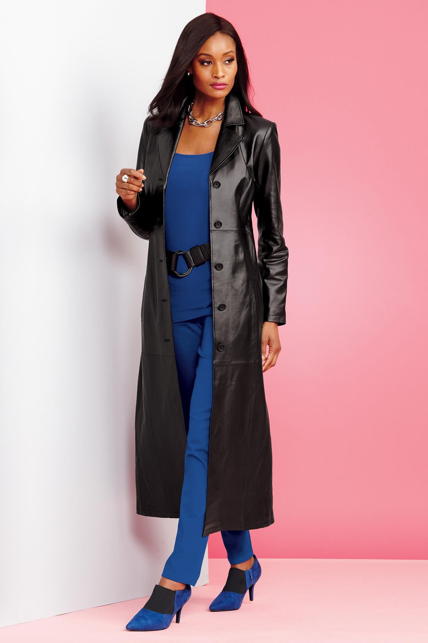 Long Genuine Leather Coat Unique & Bold Women's Clothing