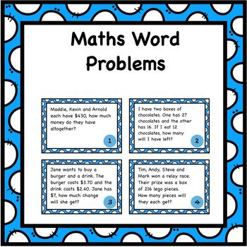 Word Problems Task Cards - Addition, Subtraction, Multiplication ...