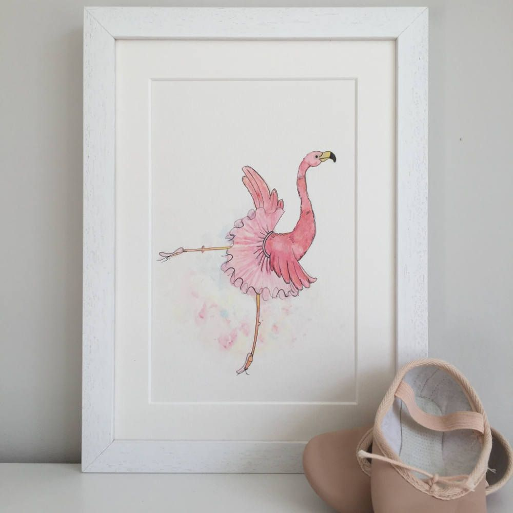 Flamingo Art Print Ballet Flamingo In Pink Tutu A4 Children S