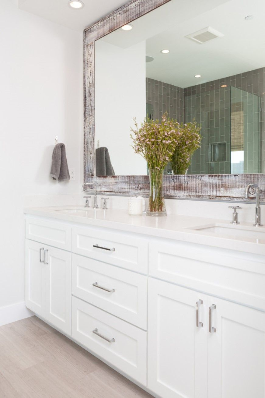 Bathroom With White Cabinets And Framed Mirror | Decor | Pinterest ...