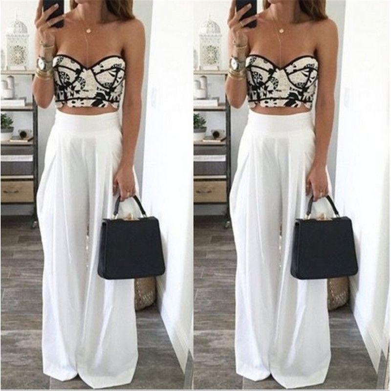 7b047b6c5cfeb2 Fashion Womens High Waist Side Zipper Chiffon Long Wide Leg Pants Summer  Casual Beach Party Harem Loose Trousers