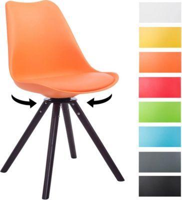 Design Retro-Stuhl TROYES RUND, Kunststoff-Lehne, Kunstleder-Sitz - stühle für die küche