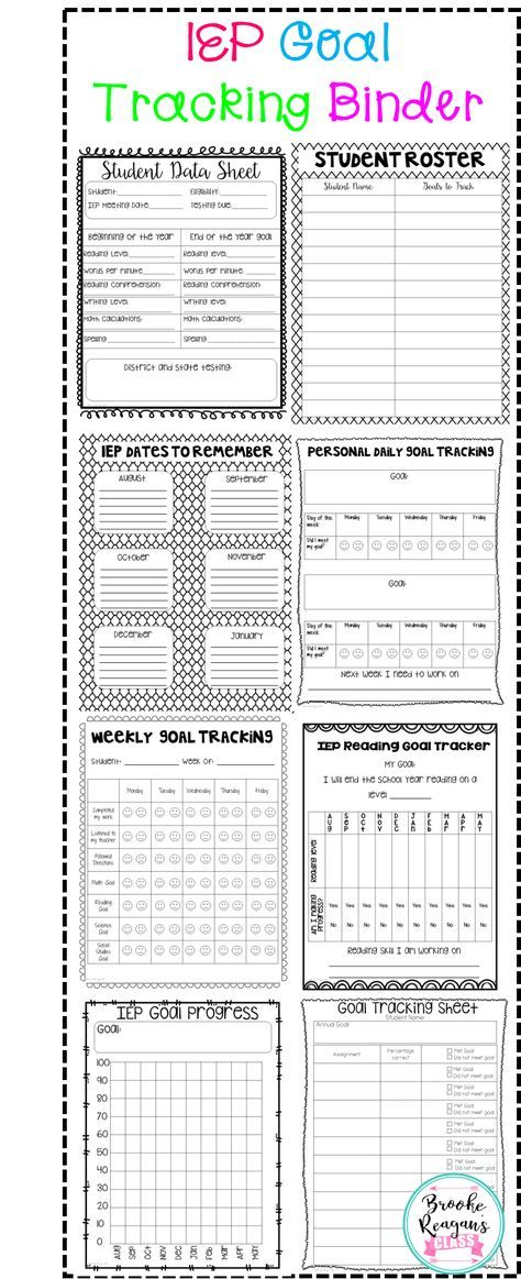 IEP Goal Tracking Binder Tops, Student and Student goals - general evaluation template