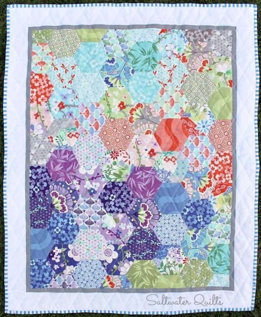 Saltwater Quilts: Happy Hexagon Baby Quilt - love this mix of bold ... : hexagon baby quilt - Adamdwight.com