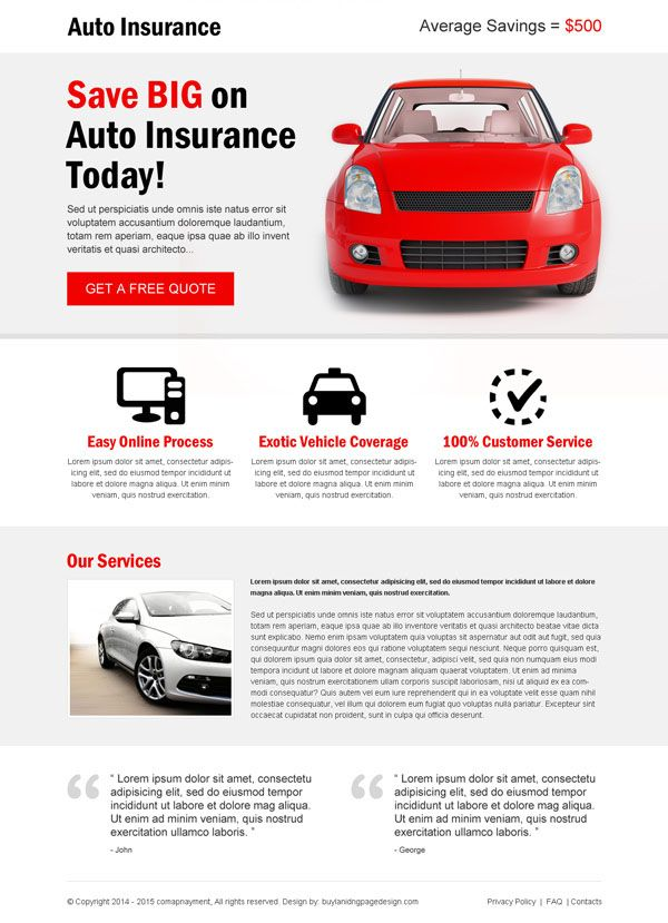 Auto Insurance Service Flat Responsive Landing Page Design With
