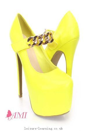 Cheap Neon Yellow Chain Maryjane AMI Clubwear Platform Heels Faux ...