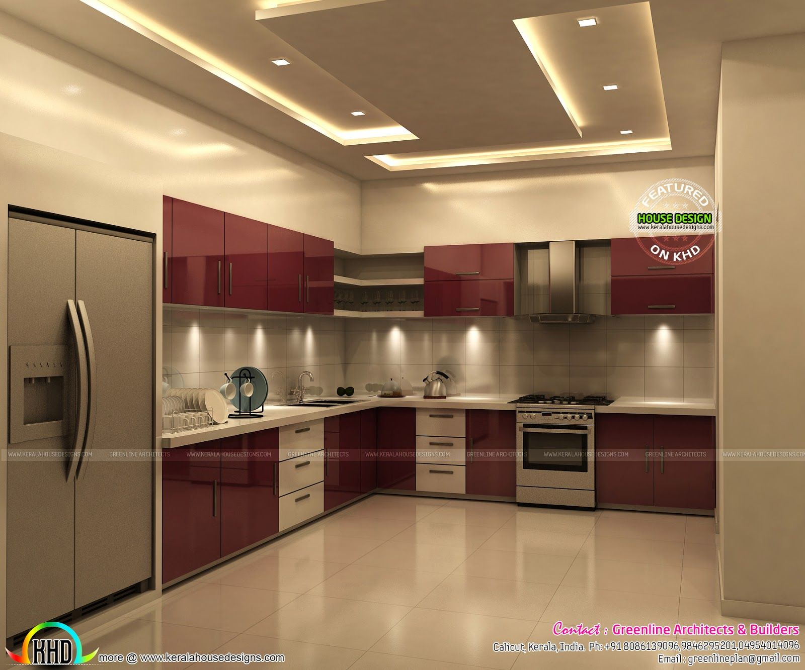 superb kitchen and bedroom interiors kerala home design   Interior ...