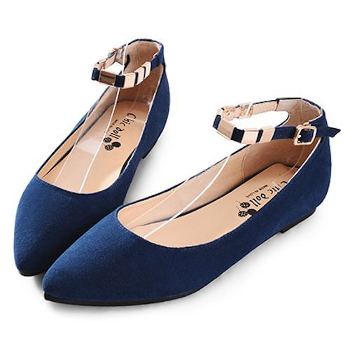 Navy Blue Suede Ankle Strap Flat Prom