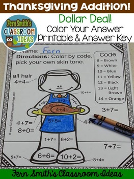 Color By Numbers Thanksgiving Math Addition