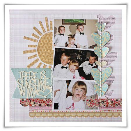 Sunshine in my Heart page- cute sewn hearts