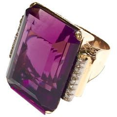 4eb53cf970f37 Spectacular 1950s Large Amethyst Gold Cocktail Ring | 40's, 50's ...